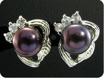 3x8mm Black Pearl Pendant Earrings Set