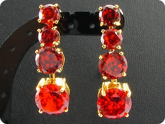 70x10~6mm Red Ruby Necklace Earrings Set