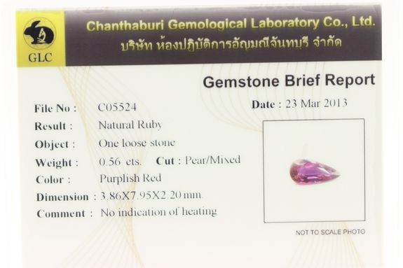 0.56 CT.  RED RUBY. Unheated . SI1