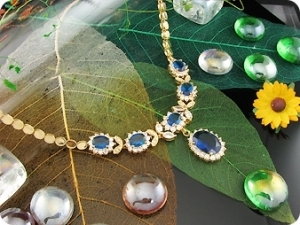 6x14-8mm Blue Sapphire Necklace + Earrings