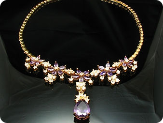 26x6-18mm Amethyst Necklace