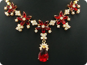 26x6-18mm Red Ruby Necklace