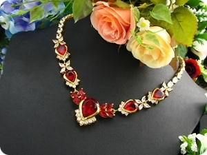 13x20-8mm Red Ruby Necklace