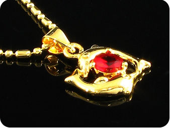 6mm Royal Red Ruby Dolphin Gold Pendant