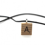 Scrabble Wood Letter pendant + black leather cord