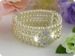 472x6~10mm White Pearl + Created Diamond Necklace Bracelet Earrings Set
