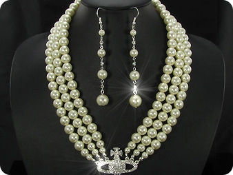 224x6~12mm White Pearl + Created Diamond Necklace Bracelet Earrings Set
