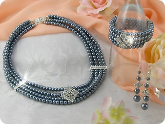 472x6~10mm Black Pearl + Created Diamond Necklace Bracelet Earrings Set