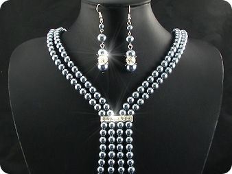 292x6~12mm Black Pearl + Created Diamond Necklace Bracelet Earrings Set