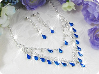 20x10mm Blue Sapphire Necklace Earrings Set