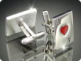 Royal Red Heart Ace Cufflink