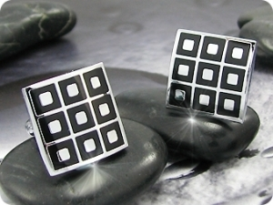 Engraving Pattern Nine Square Cufflink