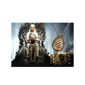 Pendentif Collier Game Of Thrones A Song of Ice Oeuf de Dragon doré