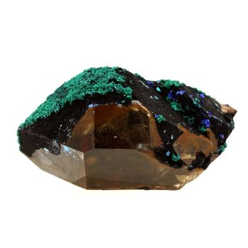 Biterminated quartz + Azurite + Malachite.