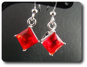 2x5mm Red Ruby Earring