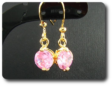2x7mm Pink Sapphire Earrings
