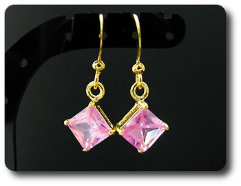 2x6mm Pink Sapphire Earrings