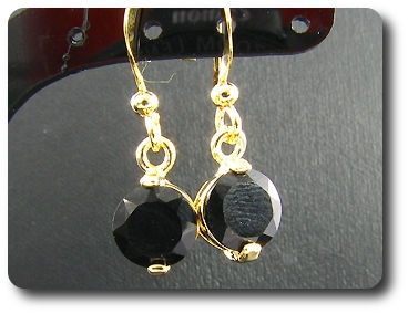 2x7mm Black Sapphire Earrings