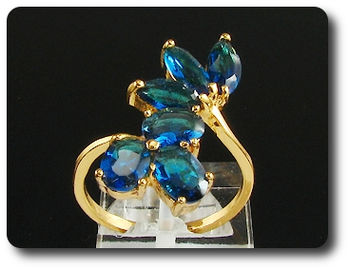 8 x 6mm Blue Sapphires Marquise Cut Gold Ring