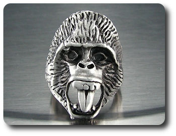 Exotic Cango Wild Ape Skull Head Massive Men Style Ring