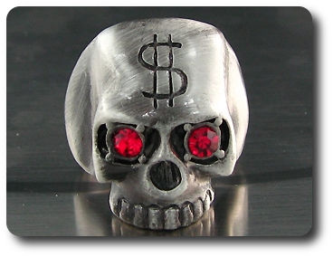 Titanium Money Forehead Skull Ruby Red Eye Men Ring