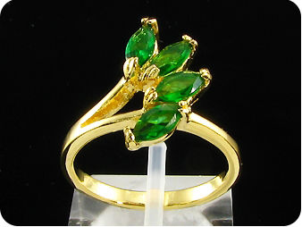 4x6mm Green Emerald Marquise Cut Gold Ring