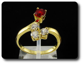 Dainty 5mm Red Ruby Round Cut Gold Ring