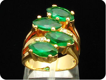 4x10mm Green Emerald Ring