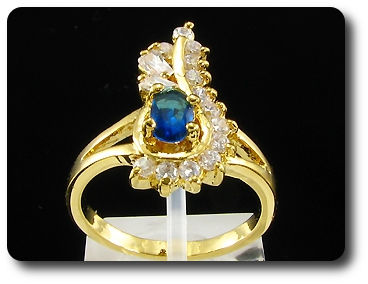 6mm Blue Sapphire Oval Cut Gold Ring