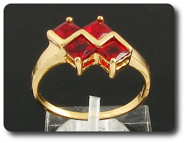 4 x 5mm Red Ruby Princess Cut Gold Ring