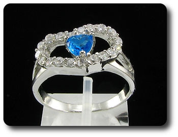 Arresting 5mm Blue Sapphire Heart Cut Ring