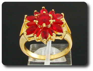 13 x 5~6mm Red Rubies Round Cut Gold Ring