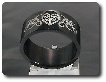 Engraving Waive Pattern Stainless Steel Men Style Ring