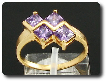 4 x 5mm Purple Amethyst  Ring