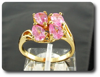 4 x 6mm Pink Sapphires Pear Cut Gold Ring