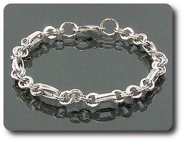 Double Cicle Rectangular Rings Braclet
