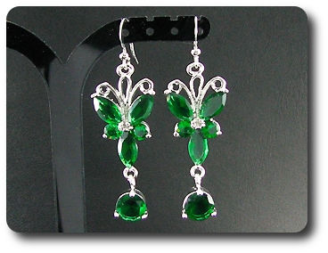 10~5mm Green Emerald Earrings