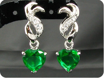 Dainty 2 x 8mm Green Emeralds Heart Cut Earrings