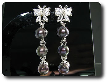 6x6mm Black Fresh Water Pearl White Topaz Earrings