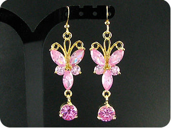 10~5mm Pink Sapphire Earrings