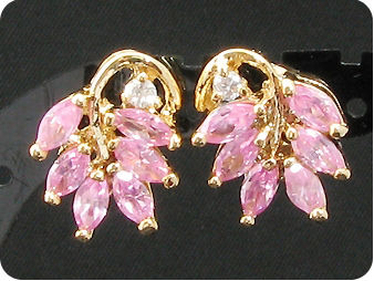 12 x 5mm Pink Sapphires Earrings
