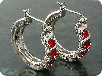 Dainty 8 x 3mm Red Rubies Earrings