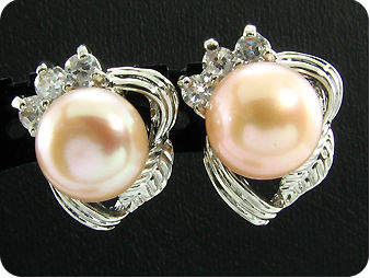 2x9mm Creamy Fresh Water Pearl White Topaz Earrings