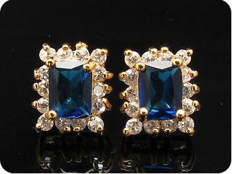2x8mm Royal Blue Sapphire Earrings