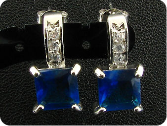 2x8mm Royal Blue Sapphire Princess Earrings