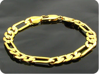 Stylish Engraving Link Chain Pattern Gold Men Bracelet