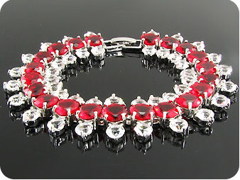 87x3~4mm Red Ruby White Topaz Round Cut Bracelet