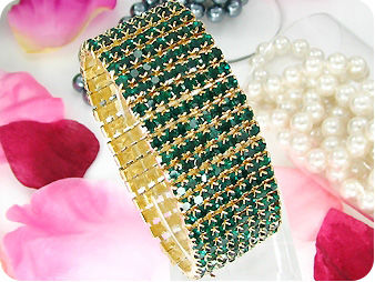 320x3mm Green Emerald Canival Party Gold Bracelet