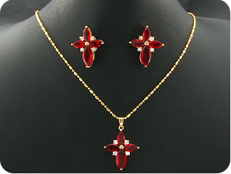 10~15mm Hot Red Ruby Topaz Gold Pendant Earrings Set