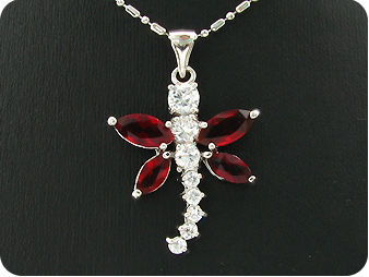 4 x 7~8mm Red Rubies White Topaz Dragonfly Shape Pendant